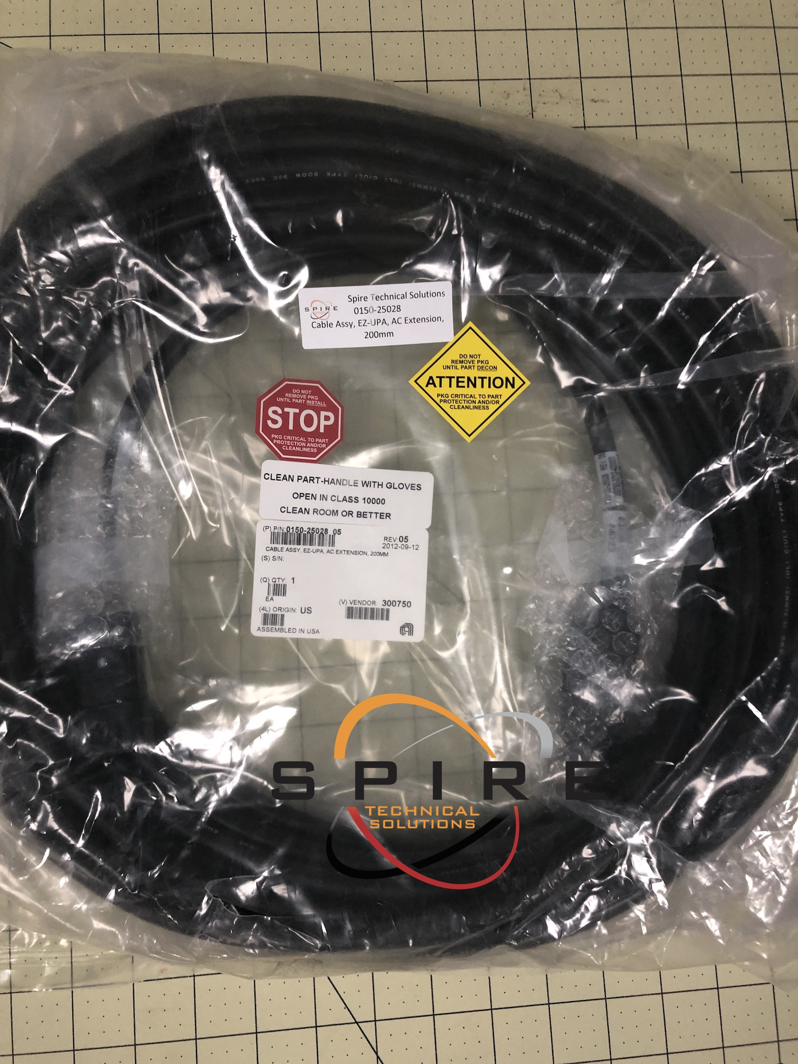 Cable Assy, EZ-UPA, AC Extension, 200mm