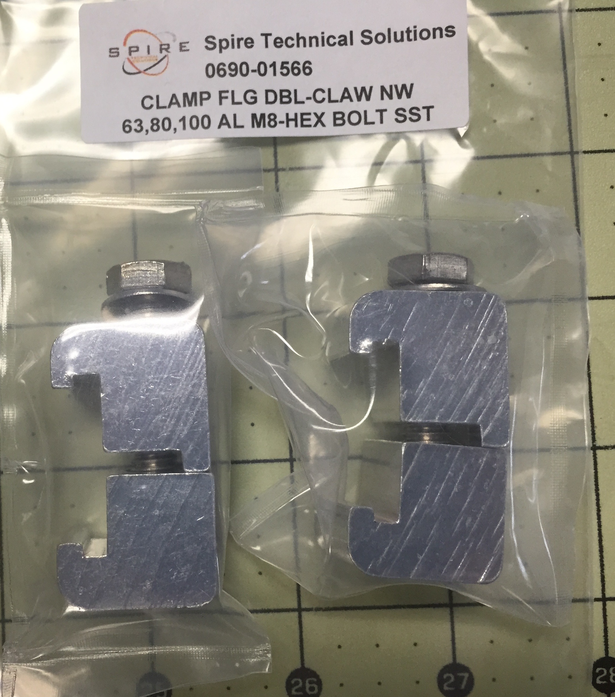 CLAMP FLG DBL-CLAW NW 63,80,100 AL M8-HEX BOLT SST