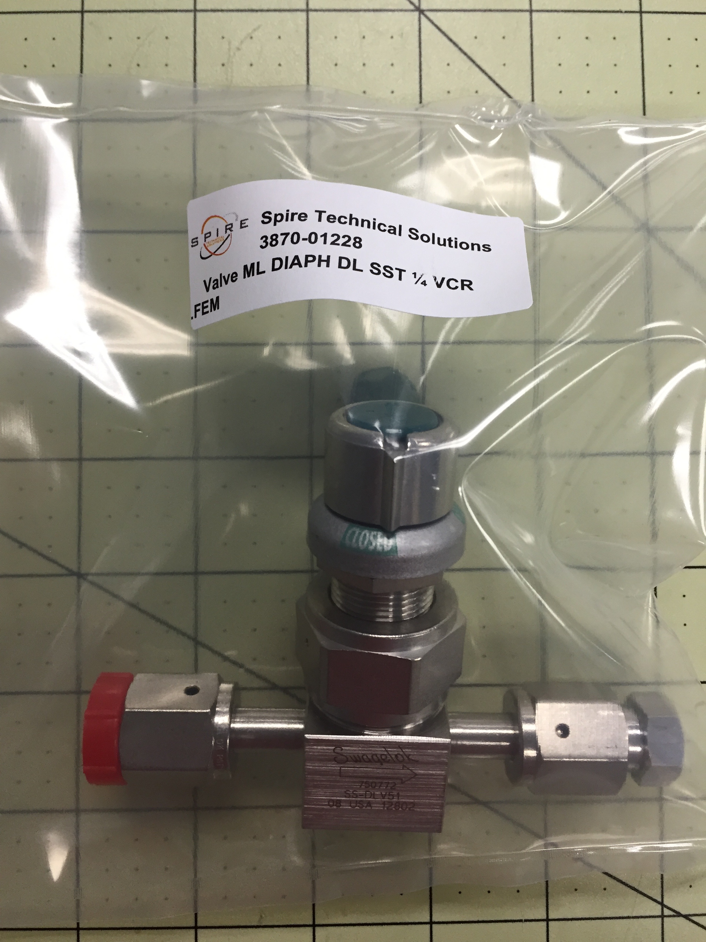 Valve ML DIAPH DL SST ¼ VCR ..